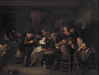 Peasants making merry in an in