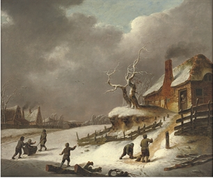 A winter landscape with childr