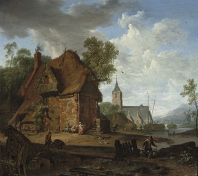 A farmhouse with peasants work