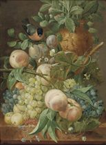 Grapes, peaches, berries and other fruit with a bird near a sculpted vase, all on a marble ledge