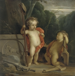 Putti with symbols of strength