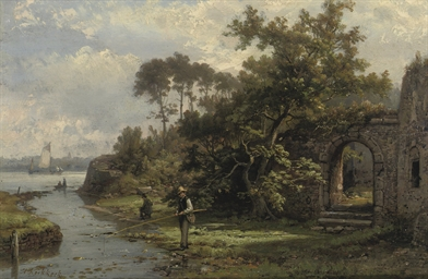 Fishermen near a ruin in summe