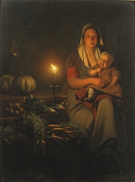 Mother and child at the night-