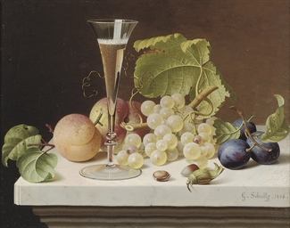 Grapes, peaches, plums, nuts a