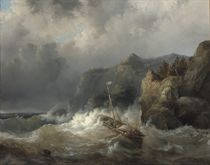 A shipwreck of a rocky coast