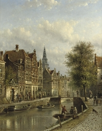 Townsfolk on a quay in Amsterd