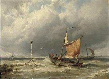 Fishermen in rough weather