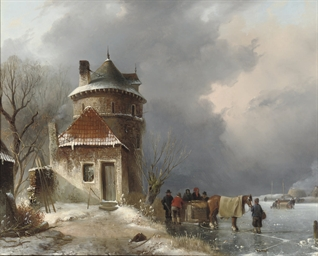 A winter landscape with a hors