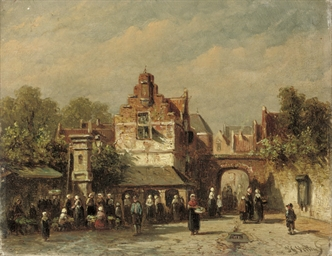 A busy market in summer