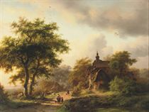 Figures on a sunlit path near a mansion