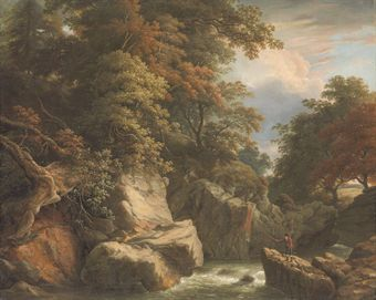 A wooded River landscape with a fisherman on a rock casting his line