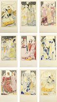 Nine full-scale preparatory studies for a series of stained glass panels, illustrating John Millington Synge's poem Queens
