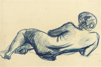 Reclining nude, back view, hea