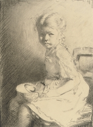 Bunny seated holding a bowl an
