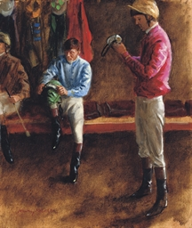 Jockeys preparing goggles