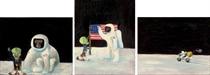 (i) Space-Ape and Tex Studies #1 (Greetings) (ii) Space-Ape and Tex Studies #2 (Flag Erection) (iii) Space-Ape and Tex Studies #3 (Lunar Vehicle)