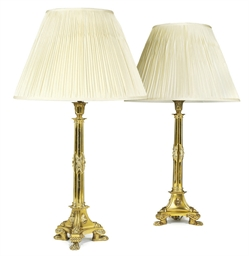A PAIR OF WILLIAM IV BRASS LAM