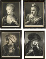 Life-size Heads: Young girl, facing and looking towards left, feather in front of hair, holding up a string of pearls with right hand; Woman directed to front, facing and looking towards left, lace cap, flower and jewels, earing, necklace, left hand holding up mantle; Man, directed to front, facing and looking towards left, turban, right hand raised; and Young woman, facing and looking slightly to right, dark hat and mantle, necklace, right hand holding fan, left hand to cheek