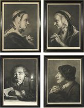 Life-size Heads: Young woman in profile to right, cap with black ribbon round it, necklace, left hand holding ermine-lined mantle; Old woman, nearly in profile to left, cap, dark kerchief over and across it, both hands leaning on top of crutch; Young man, facing and looking to front, holding book open before him with left hand, lighted candle to right; and Old man, in profile to left, black velvet cap, spectacles held in right hand