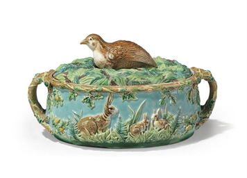 A GEORGE JONES MAJOLICA TWO-HANDLED OVAL GAME-PIE TUREEN AND...