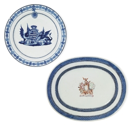 TWO CHINESE ARMORIAL DISHES FO