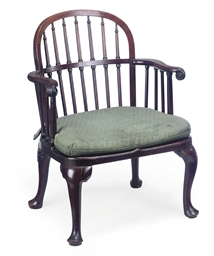 A GEORGE II MAHOGANY WINDSOR A
