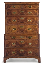A GEORGE II WALNUT CHEST-ON-CH