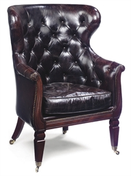 A GEORGE IV MAHOGANY WING ARMC