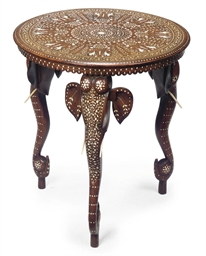 AN INDIAN HARDWOOD AND IVORY I