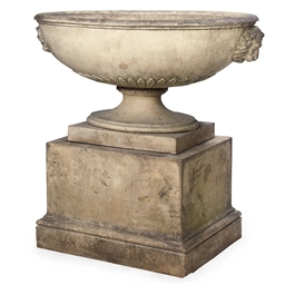 A STONEWARE URN AND PEDESTAL