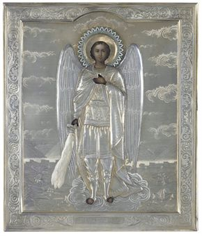 ARCHANGEL MICHAEL WITH A SILVER PARCEL-GILT OKLAD AND A CLOISONNE ENAMELLED HALO