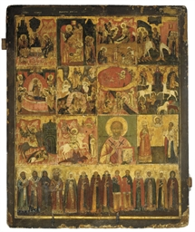 A LARGE ICON OF SELECTED SAINT