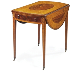A GEORGE III SATINWOOD MAHOGAN