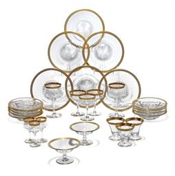 A GILT-EDGED GLASS TABLE SERVI