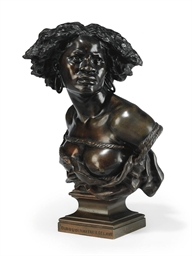 A FRENCH BRONZE BUST ENTITLED