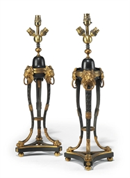 A PAIR OF PARCEL-GILT AND BRON
