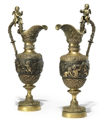A PAIR OF FRENCH BRONZE EWERS