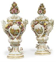 A PAIR OF GERMAN FLOWER-ENCRUSTED POT-POURRI VASES AND COVERS