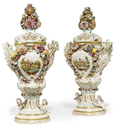 A PAIR OF GERMAN FLOWER-ENCRUS