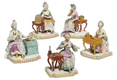 FIVE MEISSEN FIGURES EMBLEMATI