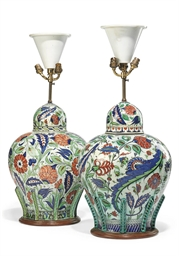 TWO CANTAGALLI VASES AND COVER