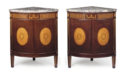 A PAIR OF MAHOGANY AND SATINWO