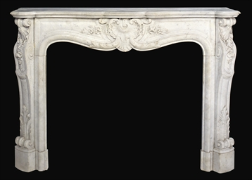 A FRENCH CARVED WHITE MARBLE C
