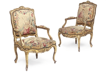A PAIR OF GILTWOOD FAUTEUILS