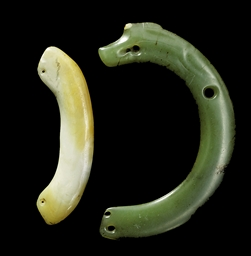 TWO JADE ARCHED PENDANTS