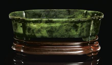 A SPINACH-GREEN JADE JARDINIÈR