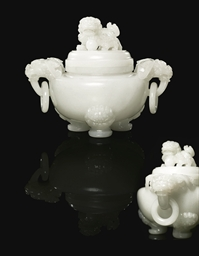 A WHITE JADE TRIPOD INCENSE BU