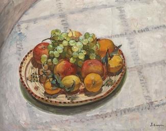 Corbeille de pommes et raisins
