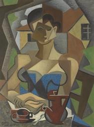 Femme assise, en robe bleue