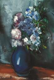 Bouquet au vase bleue